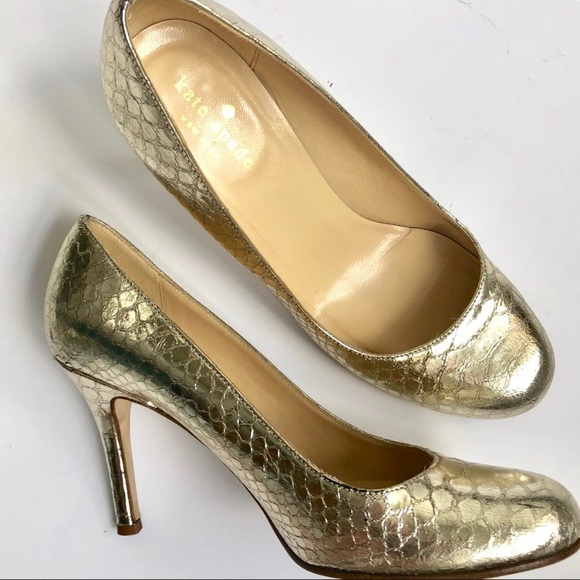 ba941f52f kate spade Shoes | New York Karolina Gold Snakeskin Heel | Poshmark